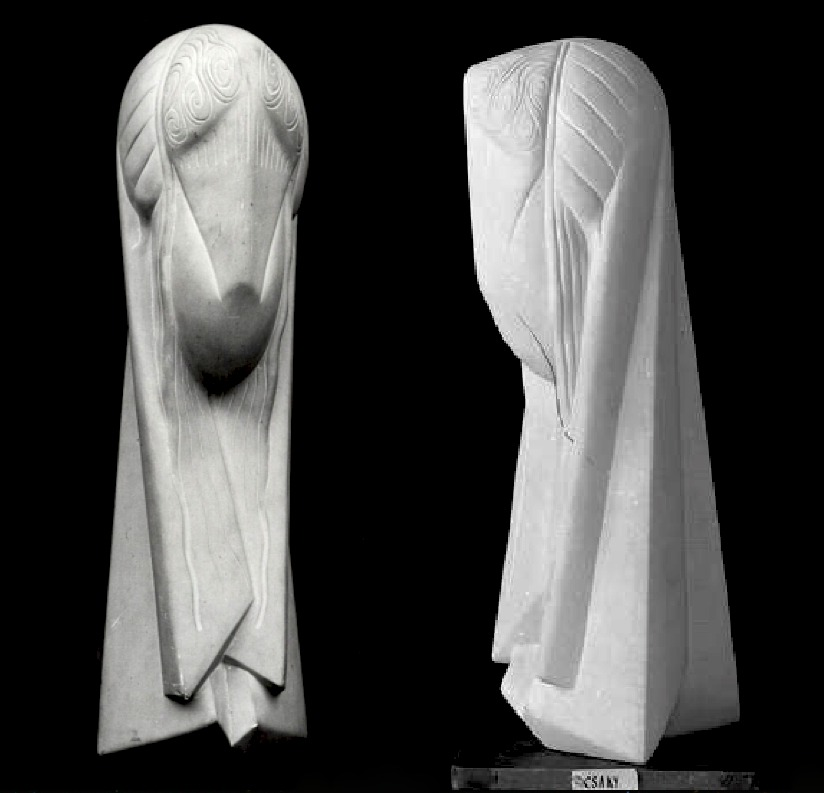 Joseph Csaky, T%C3%AAte, ca 1920 (front and side view) limestone, 60 cm, Kr%C3%B6ller-M%C3%BCller Museum, Otterlo, Holland.tiff