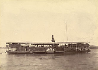 Third Anglo-Burmese War - Photograph of one of King Thibaw's steamers on the Irrawaddy, 26 November 1885. Photographer: Hooper, Willoughby Wallace (1837–1912).