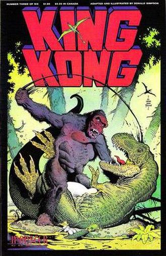 King Kong (comics) - King Kong battles a Tyrannosaurs Rex. From issue No. 3 of the comic mini-series King Kong. By Monster Comics