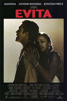 Madonna embracing Antonio Banderas from behind, with the film name written in bold red color above the image.