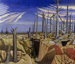4th (City of London) Battalion, London Regiment - Oppy Wood, 1917. Evening by John Nash
