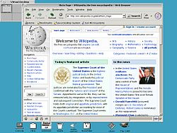 A screenshot of OpenWindows running the Mozilla web browser open to the front page of the English Wikipedia. The default DeskSet tools appear at the bottom of the screen.