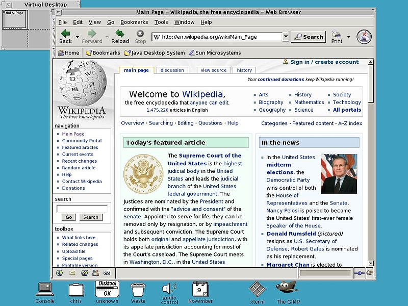 Open Windows (film). A screenshot of OpenWindows running the Mozilla web b