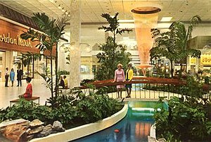 Palm Beach Outlets - The Wonderfall fountain in the mall's center court with Jordan Marsh seen on the left (circa late 1960s)