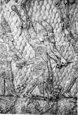 Sennacherib - Assyrian warriors armed with slings from the palace of Sennacherib, 7th century BCE