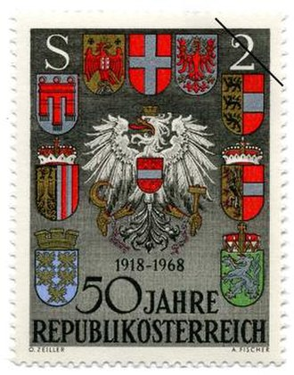 Postage stamps and postal history of Austria - 50th anniversary of the Republic issue, showing the coats of arms of Austria and Austrian states, issued in 1968