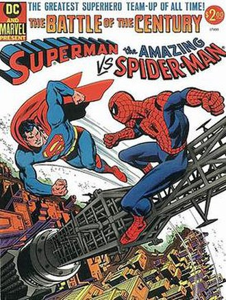 Intercompany crossover - Superman vs. the Amazing Spider-Man one-shot (1976). Cover art by Carmine Infantino (layout), Ross Andru (finished pencils) and Dick Giordano (inks).