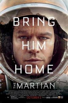 "The tired and worn face of a man wearing a space suit, with the words ""Bring Him Home"" overlaid in white lettering. In smaller lettering the name ""Matt Damon"" and the title ""The Martian"