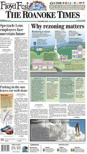 The Roanoke Times - The July 27, 2005 front page of The Roanoke Times