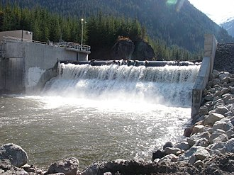 Independent power producers in British Columbia - Example of a Run-of-River facility:Toba Montrose, supplying 235 MW of power to BC Hydro.
