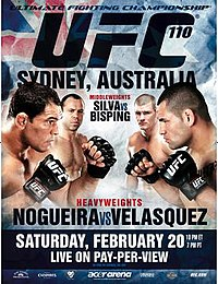 A poster or logo for UFC 110: Nogueira vs. Velasquez.