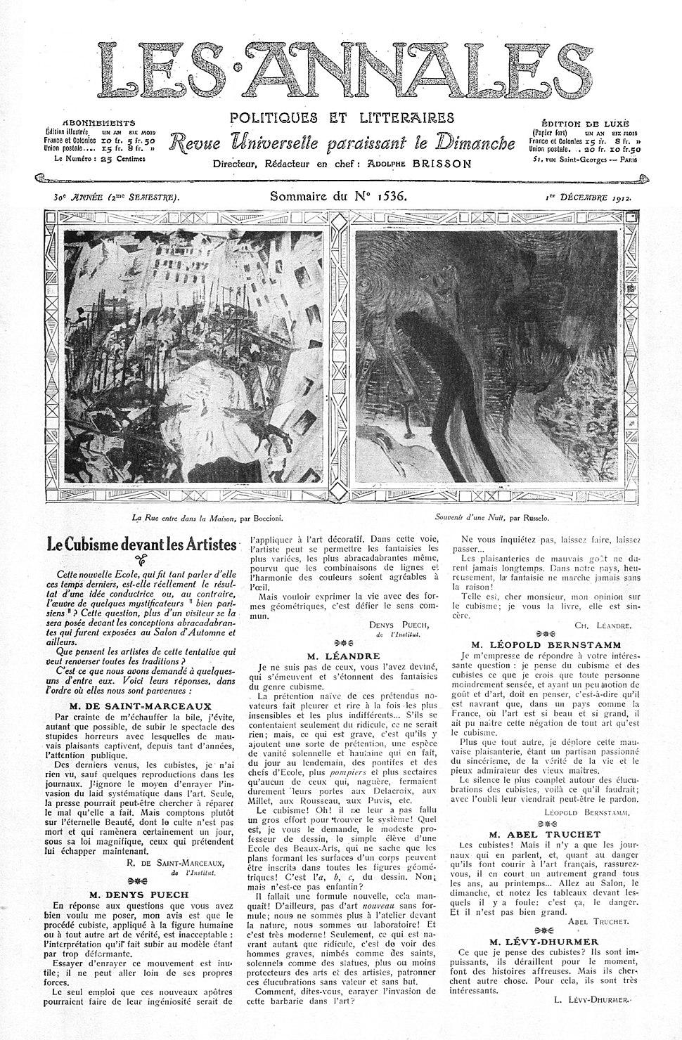 Umberto Boccioni (La rue entre dans la maison), Luigi Russolo (Souvenir d'une nuit), Les Annales politiques et littéraires, 1 December 1912