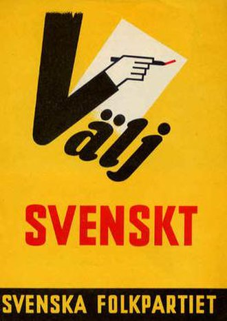 "Swedish People's Party of Finland - 1960 municipal elections poster: ""Choose Swedish"""