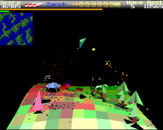 Zarch -  The lander flies high in the atmosphere, shooting at  an enemy Seeder which is infecting the ground, turning it red.