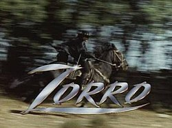 Zorro riding his horse behind the title Zorro