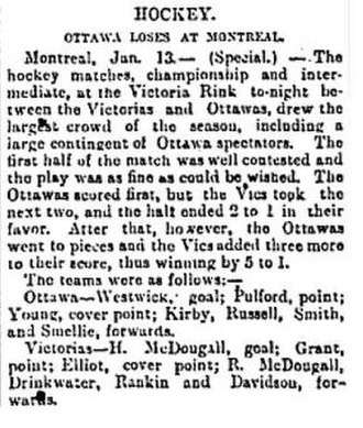 Hartland MacDougall - Summary from January 14 Globe and mail showing H.Macdougall as goalie not A.Macdougall