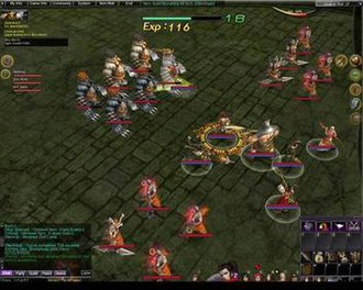 Atlantica Online - A player and his mercenaries accompanied by two groups of mobs attacking an enemy mob group.