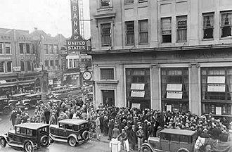 Great Depression in the United States - People outside a closed bank after 1929 stock market crash