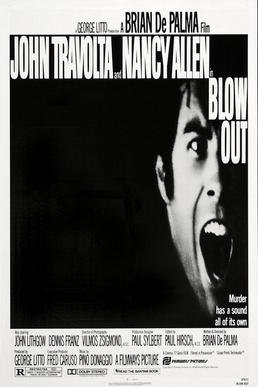 """The poster has a squeezed, black-and-white image of John Travolta screaming, with the tagline below reading """"Murder has a sound all of its own""""."""