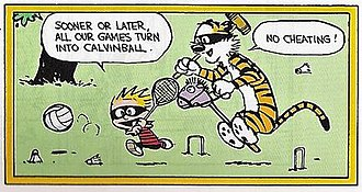 Calvin and Hobbes - Calvin and Hobbes playing Calvinball with an assortment of sporting equipment.