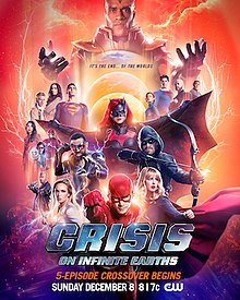 The Monitor looming over various Arrowverse characters. White Canary, Black Lightning, Batwoman, Flash, Green Arrow, and Supergirl are prominently featured in the foreground.