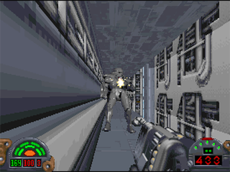 Star Wars: Dark Forces - The player engaging a Dark Trooper