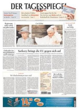 Der Tagesspiegel - Image: Der Tagesspiegel front page