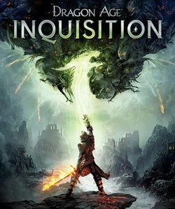 "The game's cover art. The text ""DRAGON AGE"" is at the top, with the larger text ""INQUISITION"" directly below. In the lower centre of the image is an armored soldier, holding a sword with one hand, and pointing to mystical creatures in the sky with the other. The ""BioWare"" and ""EA"" logos are at the bottom of the cover."