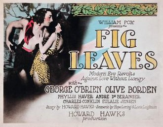 Howard Hawks - Poster for the comedy Fig Leaves (1926), one of the few early films Hawks valued positively later in his life.