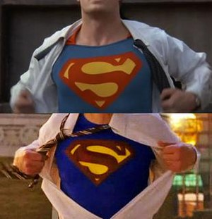 Finale (Smallville) - The final shot of the episode (lower) was modeled after iconic scenes from the Christopher Reeve Superman films (upper).