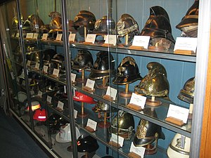 Firefighter's helmet - Fire helmets from around the world on display at the Hall of Flame Fire Museum in Phoenix, Arizona