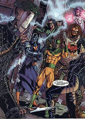 Rogues (comics) - The Rogues, a group of modern Flash enemies (except for Weather Wizard, third from left), who formed a team to take down the Flash, from Flash: Iron Heights (August 2001).