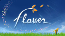 "A trail of red, yellow and white petals arc over a brown-and-green grassy hill. The sun is in the upper left of the image, set in a clear blue sky, and the word ""flower"" is overlaid across the image, with the top of the ""f"" sprouting orange petals as if it were a flower itself."
