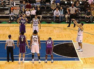 Key (basketball) - Wally Szczerbiak shoots a free throw; in most leagues, the team of the free throw shooter has at most two players (aside from the free throw shooter) on the sides of the key, while the opposing team has three.
