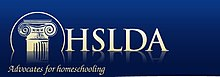 "Logo of the Home School Legal Defense Association, consisting of the top of a pillar in a circle and the text ""HSLDA: Advocates for homeschooling"" in gold ink on a dark blue background."