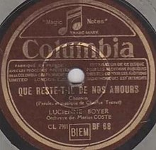 Lucienne Boyer, Que reste-t-il de nos amours, A side, Columbia Records, 1942.jpg