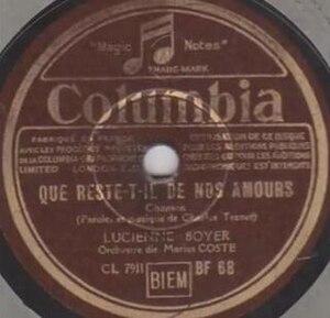 Que reste-t-il de nos amours ? - Image: Lucienne Boyer, Que reste t il de nos amours, A side, Columbia Records, 1942