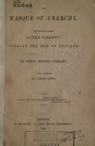 "The Masque of Anarchy - 1842 title page, with added poems ""Queen Liberty"" and ""Song-To the Men of England"", J. Watson, London."