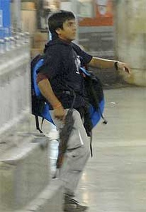 Ajmal Kasab - Kasab in the Chhatrapati Shivaji Terminus during the 2008 Mumbai attacks