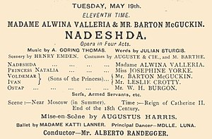 Julian Sturgis - Playbill of Nadeshda, 1885