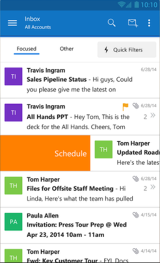Outlook Mobile - Image: Outlook Mobile Android screenshot