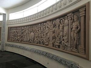 Amaravathi (village), Guntur district - Pic displaying history of Amaravathi at Dhyana Buddha Museum