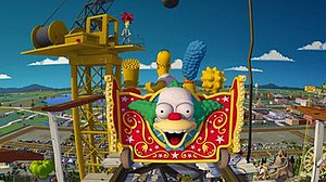 The Simpsons Ride - Sideshow Bob (top) prepares to kill the Simpson family (center) in a scene from the ride film