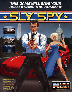 North American Sly Spy arcade flyer.