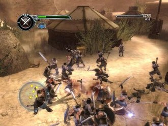 Spartan: Total Warrior - Combat in Spartan: Total Warrior. The player's health meter and current weapon is on the top left, below which is the player's magic tank. On the top right is the health meter and name of the currently targeted enemy.