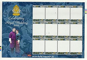 Postage stamps and postal history of Bhutan - Bhutan personalized stamp sheet (unused template) on the occasion of the 2011 Royal Wedding