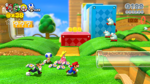 Super Mario 3D World - Mario, Luigi, Peach and Toad sprint through Really Rolling Hills, a level in Super Mario 3D World.