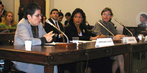 Susan Rice - Susan E. Rice (middle) at the USCIRF hearings (November 27, 2001)