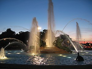 Swann Memorial Fountain - Image: Swann Memorial Fountain night