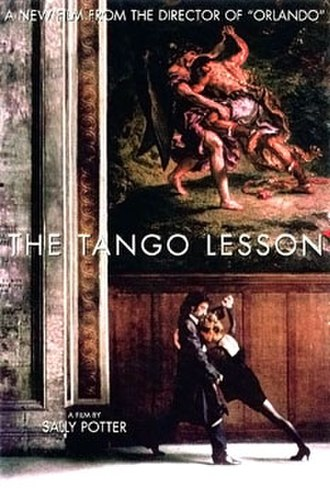 The Tango Lesson - Theatrical release poster: Potter and Verón dance below Jacob wrestling with the Angel by Delacroix